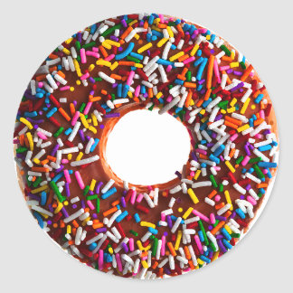 Chocolate Donut with Jimmies Round Sticker