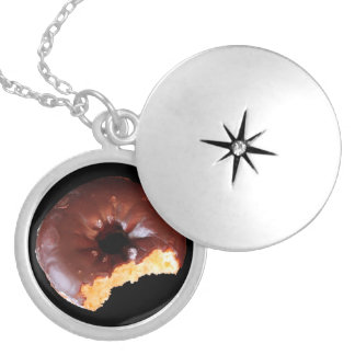 Chocolate Donut With Large Bite Taken Out of It Locket Necklace