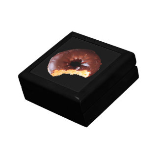 Chocolate Donut With Large Bite Taken Out Photo Gift Box