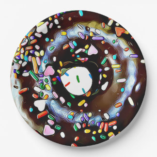 Chocolate Donut with Sprinkles Party Paper Plate
