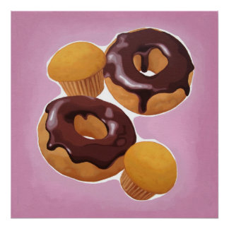 Chocolate donuts and muffin poster
