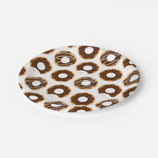Chocolate Donuts Pattern Paper Plate