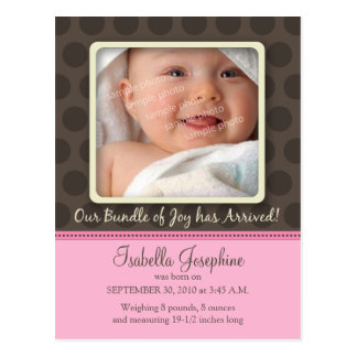 Chocolate Dots Baby Birth Announcement (pink) Postcard