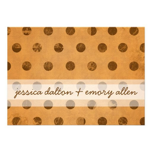 """""""Chocolate Dots on Butterscotch"""" Save-the-date Personalized Invitation"""
