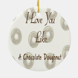 Chocolate Doughnut Round Ceramic Ornament