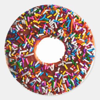 Chocolate Doughnut with Jimmies Round Sticker