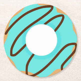 Chocolate Drizzle Blue Donut Round Paper Coaster