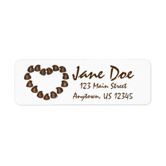 Chocolate Drop Candy Heart Valentine's Day Labels