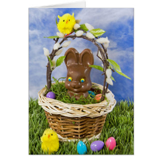 Chocolate Easter Bunny in basket Card