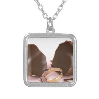 Chocolate egg and engagement ring silver plated necklace