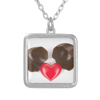 Chocolate egg and heart silver plated necklace