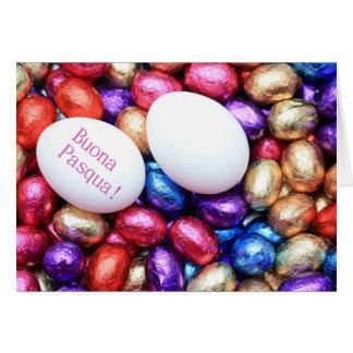 Chocolate eggs easter greeting italian card