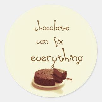 Chocolate fix classic round sticker
