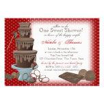 Chocolate Fountain Bridal Shower Red Custom Invite
