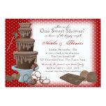 "Chocolate Fountain Bridal Shower Red 5"" X 7"" Invitation Card"