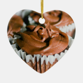 Chocolate Frosted Cupcakes on a Plate Photo Ceramic Ornament