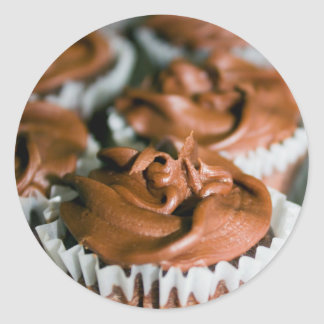 Chocolate Frosted Cupcakes on a Plate Photo Classic Round Sticker