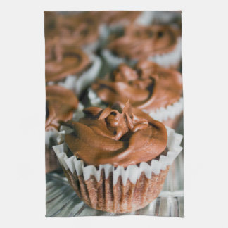 Chocolate Frosted Cupcakes on a Plate Photo Kitchen Towel