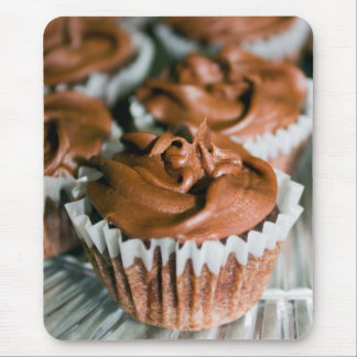 Chocolate Frosted Cupcakes on a Plate Photo Mouse Pad