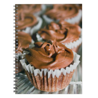 Chocolate Frosted Cupcakes on a Plate Photo Notebook