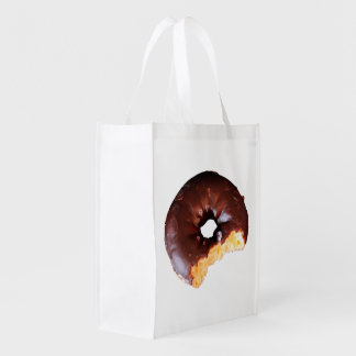 Chocolate Frosted Yellow Cake Donut on White Bag