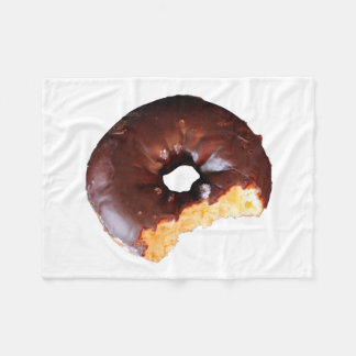 Chocolate Frosted Yellow Cake Donut with Bite Out Fleece Blanket