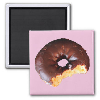 Chocolate Frosted Yellow Cake Donut with Bite Out 2 Inch Square Magnet