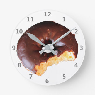 Chocolate Frosted Yellow Cake Donut with Bite Out Round Clock