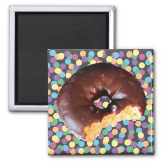 Chocolate Frosted Yellow Cake Donut with Bite Out Square Magnet