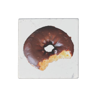 Chocolate Frosted Yellow Cake Donut with Bite Out Stone Magnets