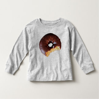 Chocolate Frosted Yellow Cake Donut with Bite Out Tee Shirt