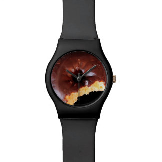 Chocolate Frosted Yellow Cake Donut with Bite Out Watch