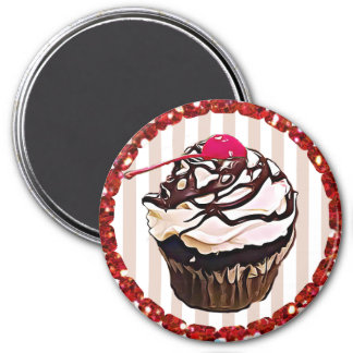 Chocolate Frosting with Cherry Cupcake Top Magnet