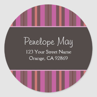 Chocolate, Fuschia & Salmon Striped Address Labels