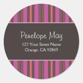 Chocolate, Fuschia & Salmon Striped Address Labels Round Sticker