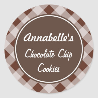 Chocolate Gingham Kitchen Stickers