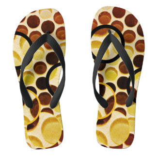 Chocolate glass 3-D dots Flip Flops