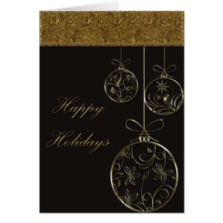 Chocolate & Gold Christmas Ornaments Card