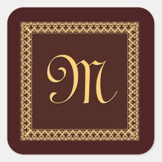 CHOCOLATE & GOLD Ornate Monogram Square Sticker