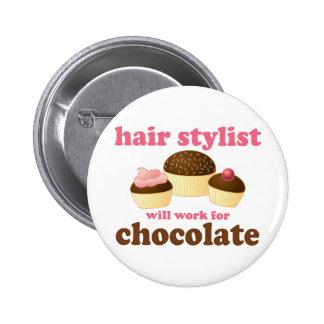 Chocolate Hair Stylist Occupation Gift 2 Inch Round Button