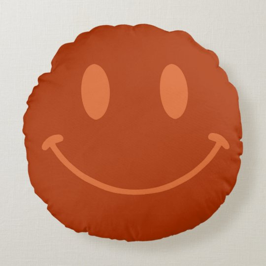 Chocolate happy face brown round pillow