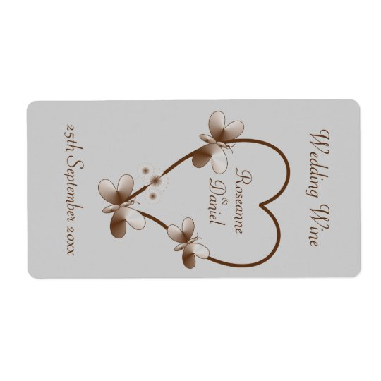 Chocolate Heart And Butterflies Mini Wine Label