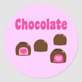 Chocolate Heart Bonbons Classic Round Sticker