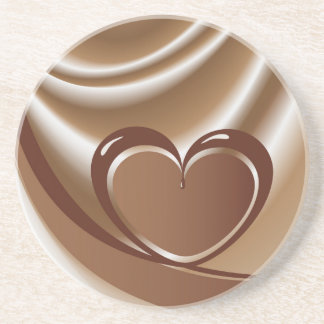 Chocolate heart from a tape in the background of m beverage coasters