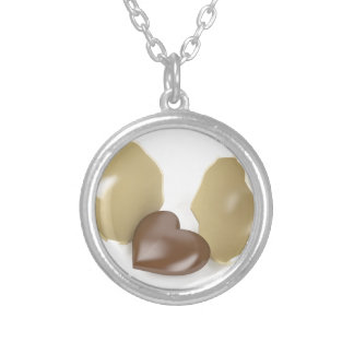 Chocolate heart silver plated necklace