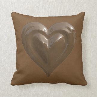 chocolate heart throw pillow
