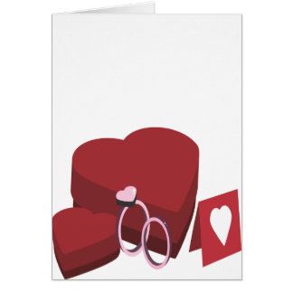 Chocolate Heart Valentine's Day Box Two Rings Card