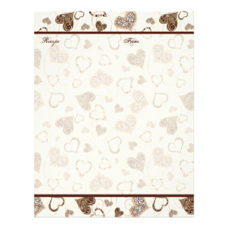 Chocolate Hearts Bridal  Wedding Gift Recipe Pages Customized Letterhead