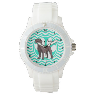 Chocolate Lab; Aqua Green Chevron Watch