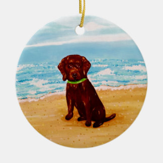 Chocolate Lab at the Beach Ornament